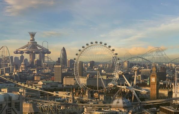 Фото обои развлечений, парк, аттракционы, Лондон, будущее