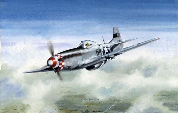 Картинка облака, полет, самолет, рисунок, высота, Mustang, истребитель, арт, North American, P51