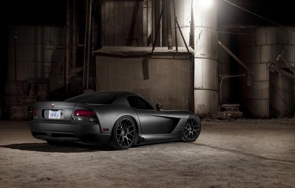 Картинка чёрный, матовый, Dodge, black, Viper, додж, вайпер, задняя часть, SRT10