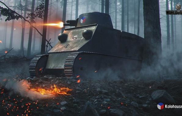 Картинка WoT, Мир танков, World of Tanks, Wargaming, чешский танк, Kolohousenka