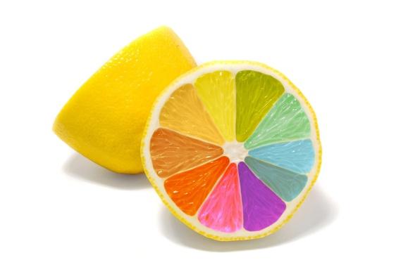 Картинка минимализм, Лимон, красочные
