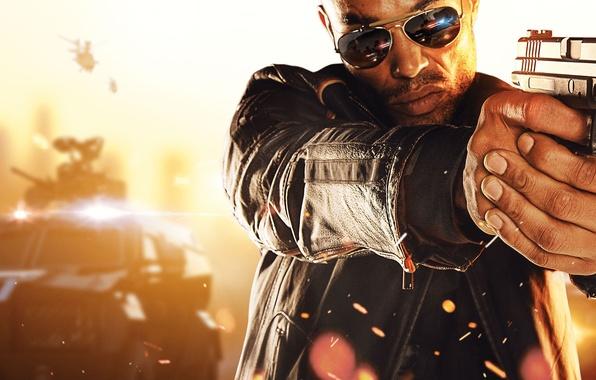 Картинка машина, пистолет, оружие, руки, очки, police, Electronic Arts, полицейский, коп, Visceral Games, Battlefield Hardline