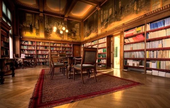 Картинка table, books, chairs, Library