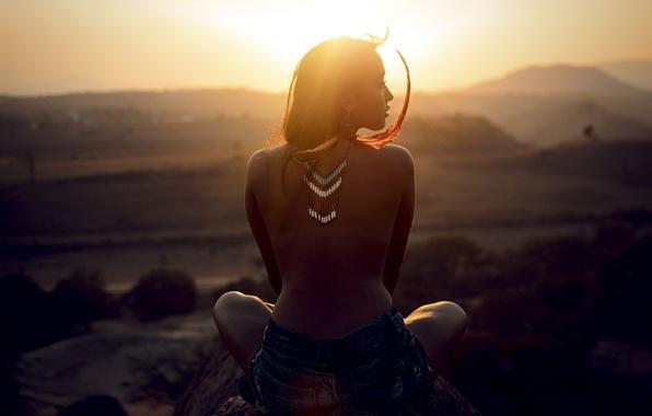 Картинка свет, перья, украшение, спинка, солнца, индианка