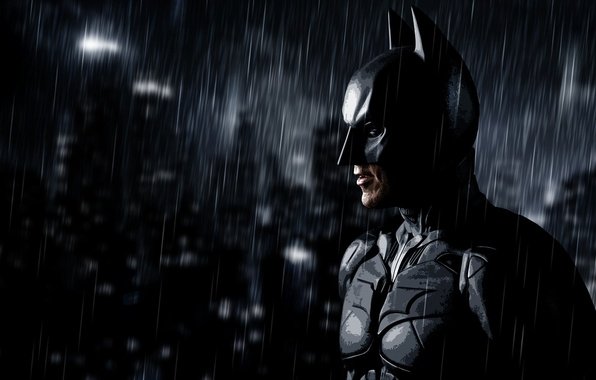 Картинка дождь, batman, арт, Бэтмен, rain, art, dark knight rises