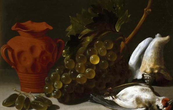 Картинка картина, виноград, ваза, Натюрморт с Убитой Птицей, Juan Bautista de Espinosa