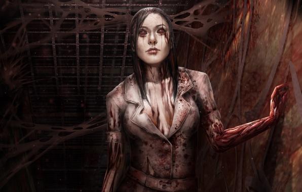 Картинка девушка, тьма, коридор, blood, медсестра, death, fan art, Silent Hill