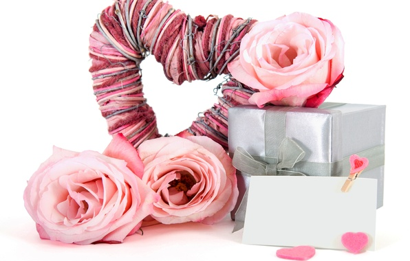 Картинка цветок, любовь, ленты, праздник, коробка, подарок, сердце, розы, букет, love, box, flower, heart, gift, holiday, …