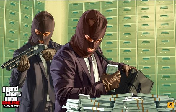 Картинка бандиты, ограбление, игроки, gta Online, Heists