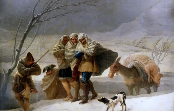 Картинка животные, люди, Зима, картина, путники, жанровая, Франсиско Гойя, Вьюга