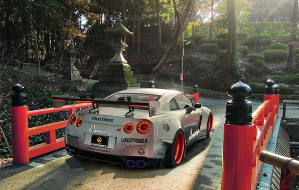 Картинка GTR, Japan, Nissan, Car, R35, Sport, Silver, Rear, Liberty, Walk