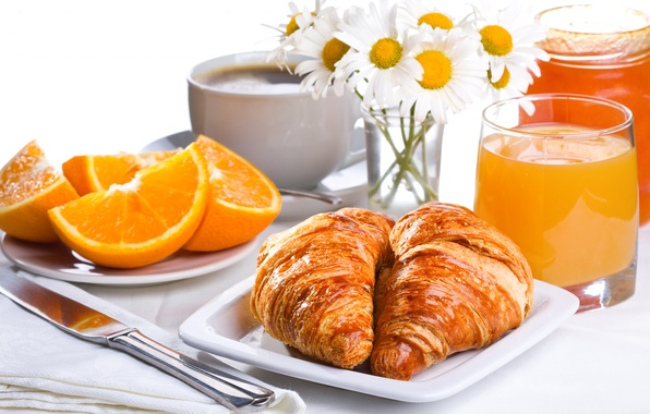Картинка цветы, кофе, еда, завтрак, фрукты