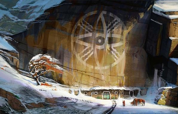 Картинка зима, дерево, ветер, человек, арт