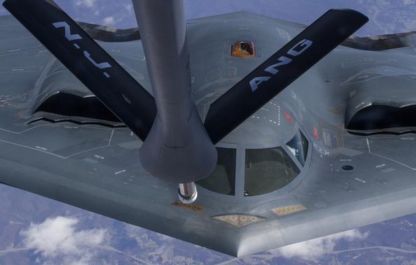 Картинка полет, бомбардировщик, Northrop, стратегический, дозаправка, B-2 Spirit