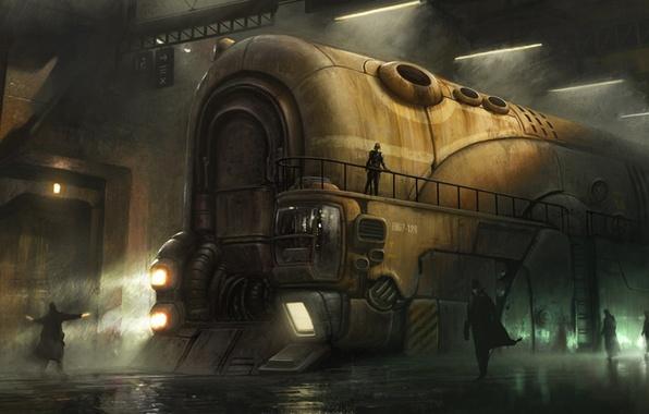 Картинка дорога, люди, поезд, локомотив, железная, громадный
