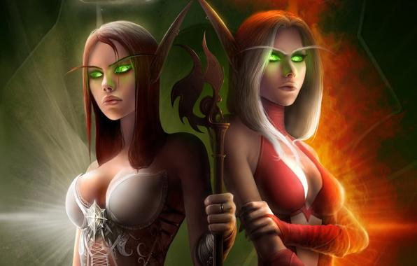 Картинка свет, пламя, посох, WoW, World of Warcraft, костюмы, горящие глаза, эльфийки