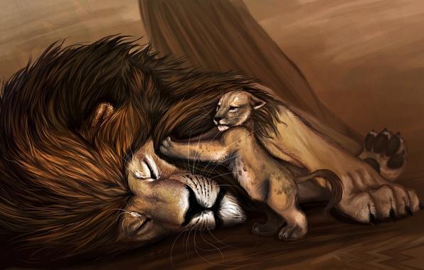 Картинка животные, рисунок, хищники, лев, Disney, львенок, animals, lion, Дисней, The Lion King, drawing, возвращение домой, …