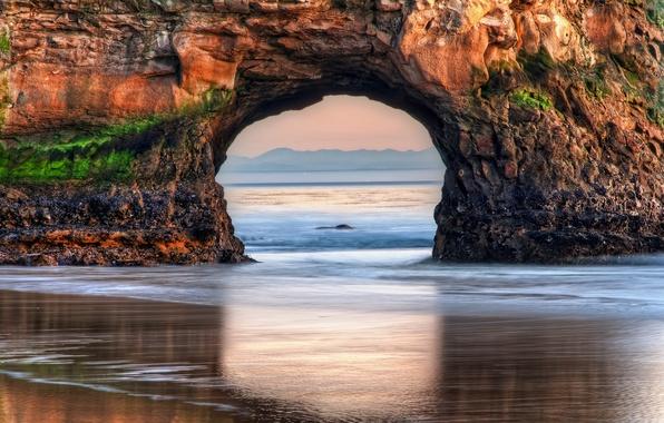 Картинка пляж, скала, океан, рассвет, USA, США, State California, Штат Калифорния, Big Sur, Биг-Сюр, Pfeiffer Big …