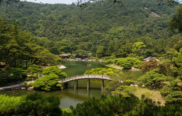 Картинка деревья, пейзаж, мост, природа, река, фото, Япония, сады, Takamatsu, Ritsurin garden