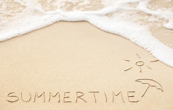 Картинка песок, море, пляж, лето, надпись, summer, beach, sea, sand, vacation