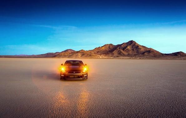 Картинка Пустыня, Машина, Свет, Ниссан, Nissan, GT-R, Фары, Edition, Track
