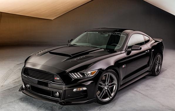 Картинка черный, Mustang, Ford, мустанг, Black, Roush, 2015, Stage 3, фрд