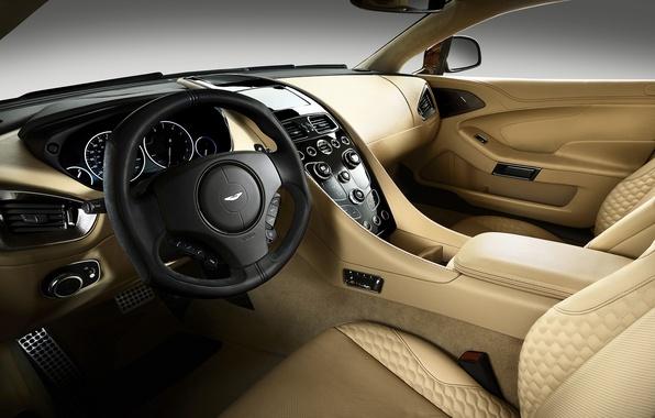 Картинка машина, авто, Aston Martin, салон, роскошь, Vanquish