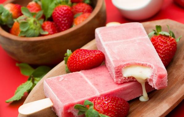 Картинка ягоды, клубника, мороженое, fresh, десерт, сладкое, sweet, dessert, berries, ice cream