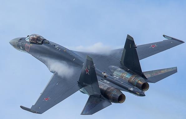 Картинка небо, истребитель, полёт, Су-35, реактивный, многоцелевой, сверхманевренный
