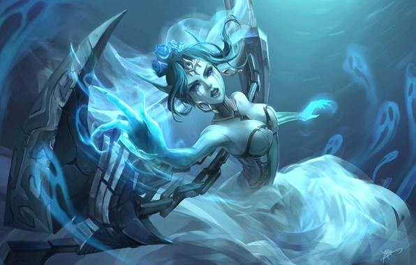 Картинка взгляд, девушка, оружие, магия, жест, art, league of legends, morgana, koloromuj