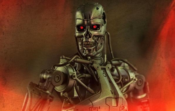 Картинка фон, игрушка, робот, статуэтка, Терминатор, Т-800