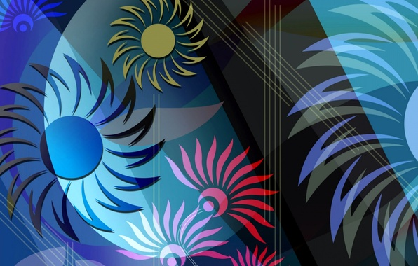 Картинка цветок, линии, абстракция, краски