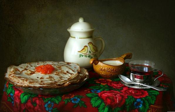 Картинка чай, текстура, посуда, натюрморт, блины, платок, икра, сметана