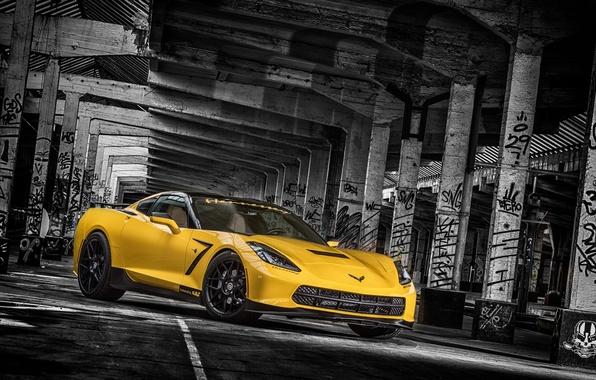 Картинка желтый, фон, тюнинг, Corvette, Chevrolet, колонны, Шевроле, tuning, передок, Stingray, Корвет, HPE700, Ruffer Performance