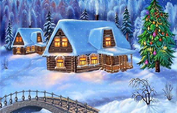 Картинка зима, снег, домик, ёлка, мостик