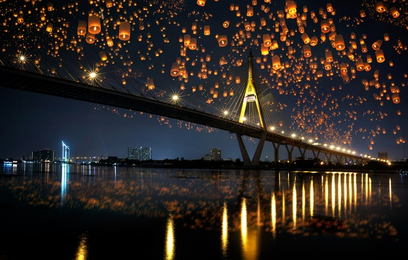 Картинка ночь, мост, city, город, lights, огни, отражение, река, river, bridge, night, reflection