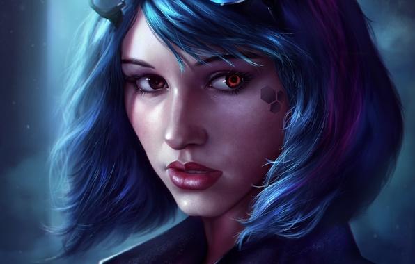 Картинка взгляд, девушка, лицо, волосы, очки, губы