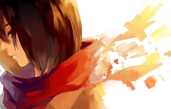 Картинка девушка, шарф, арт, профиль, Mikasa Ackerman, Микаса Аккерман