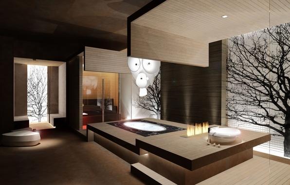 Картинка дизайн, дерево, интерьер, архитектура, проект, ванная комната