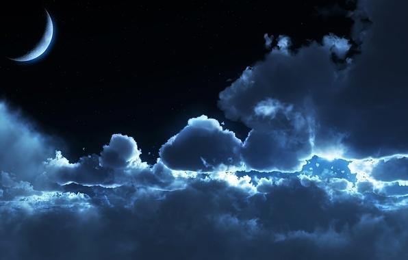 Картинка облака, ночь, лунный свет, moonrise