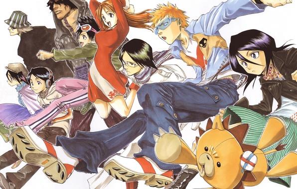 Картинка Bleach, Ichigo Kurosaki, Kisuke Urahara, Rukia Kuchiki, Orihime Inoue, Yasutora Sado, Uryuu Ishida, Kon, Tatsuki …