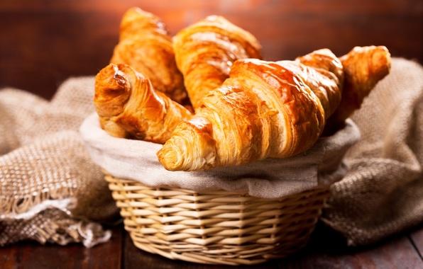 Обои корзина, выпечка, croissant, breakfast, круассан