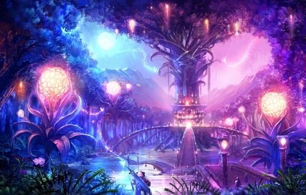 Картинка пейзаж, ночь, мост, город, огни, дерево, магия, луна, меч, воин, сферы, tera online