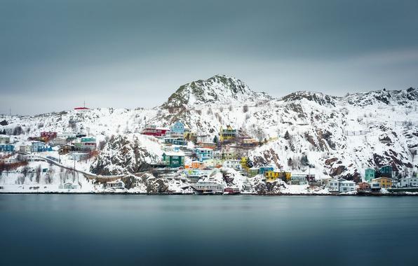 Картинка Canada, winter, snow, houses, cloudy, Newfoundland and Labrador, St. John's