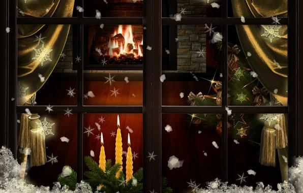 Картинка снег, украшения, снежинки, елка, свечи, окно, Рождество, Новый год, камин, шторы
