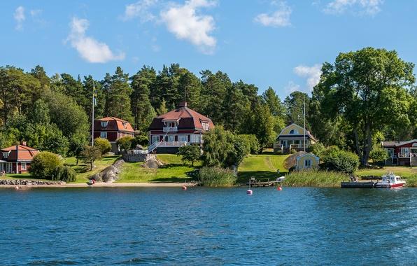 Картинка деревья, река, берег, причал, катер, домики, Швеция, Stockholm