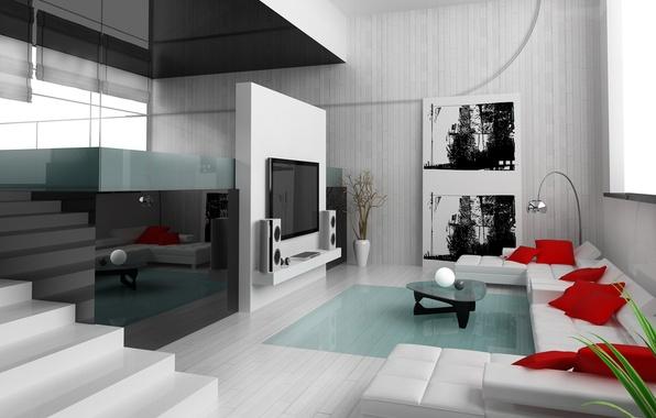 Картинка отражение, современный, картина, Дизайн, подушки, телевизор, квартира, Интерьер