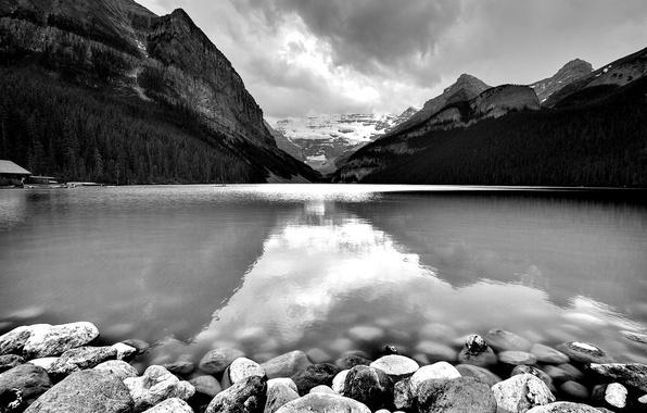 Картинка вода, пейзаж, горы, река, камни, поселение