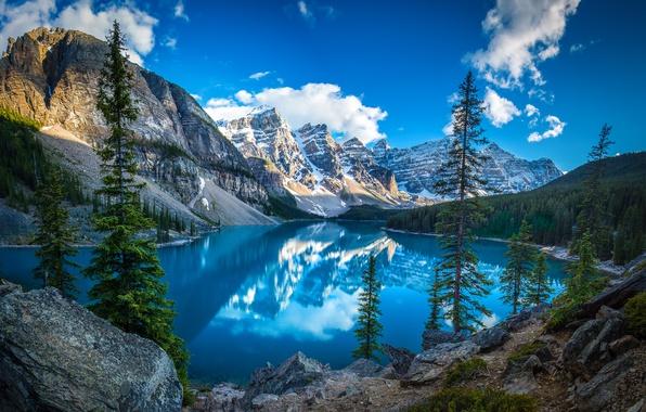 Картинка небо, горы, озеро, канада, леса