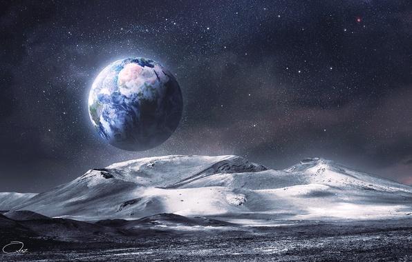 Картинка космос, звезды, поверхность, горы, земля, луна, вид, арт, рельеф, QAuZ